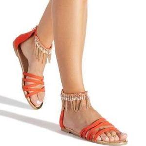 Belinda Fringe Flat Sandal Glam Sandals ShoeDazzle